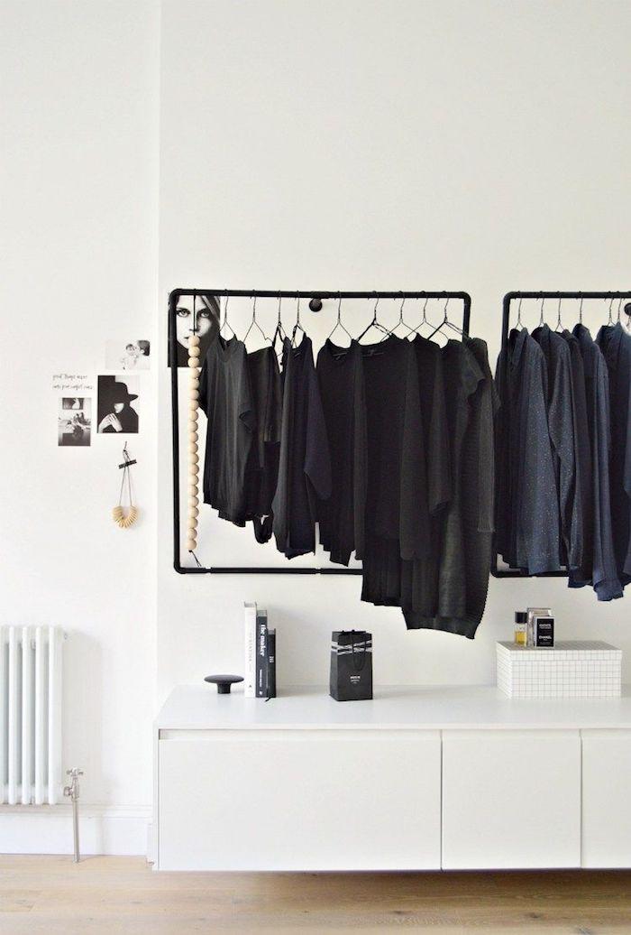 Penderie basse meuble rangement chambre facile moyen de ranger le tout original rangement dans une chambre blanche murs