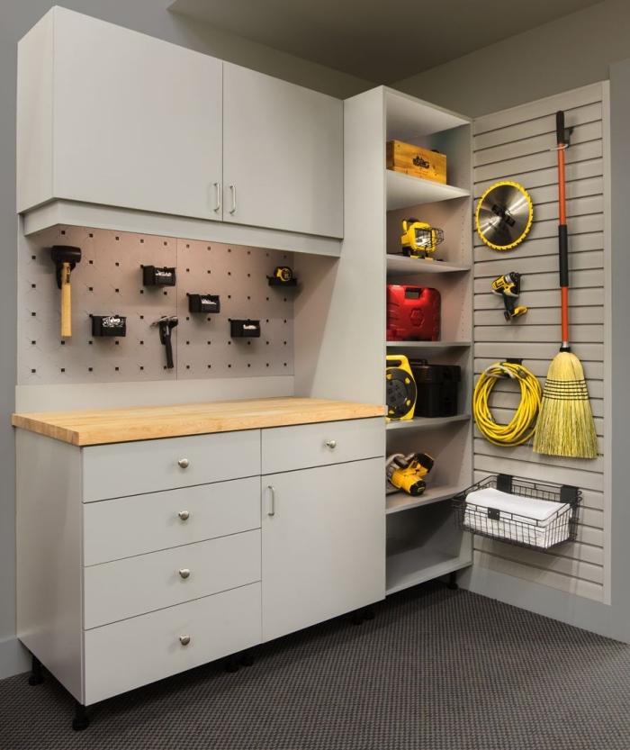 meuble rangement fonctionnel moderne, modèle armoires et étagères pour outils bricolages, rénovation garage avec meuble bois