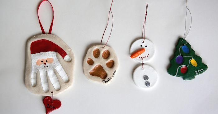 objets décoratifs de noel en pate sel sur thème de noel avec pere noel sapin bonhomme de neige et peinture pour enfants
