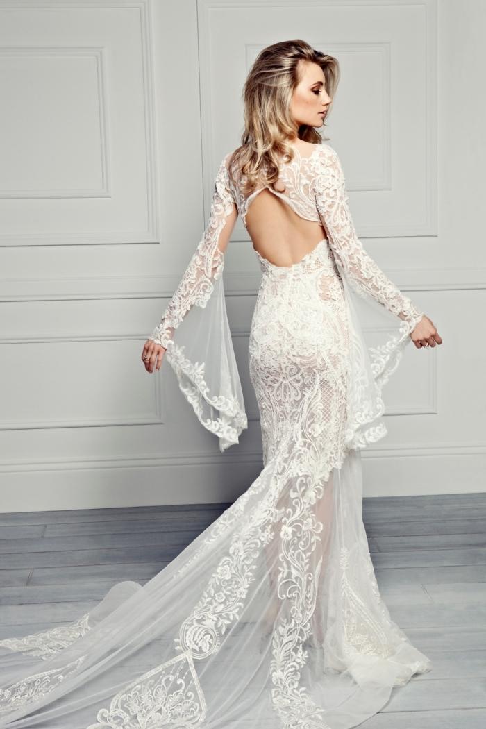 design couture nuptiale 2019, modèle de robe longue à dos échancré avec manches bouffantes à effet tatoauge