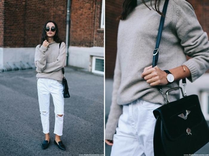 pull ample femme, pantalon blanc, sac noir avec bandoulière, mocassins noirs femme