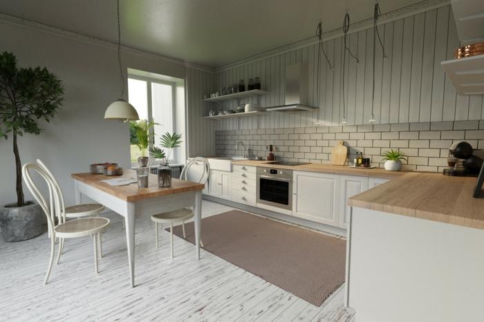 sol cuisine parquet blanchi, lattes étroites, table en bois et blanc, lambris de bois blanchi, table de repas bois et blanc