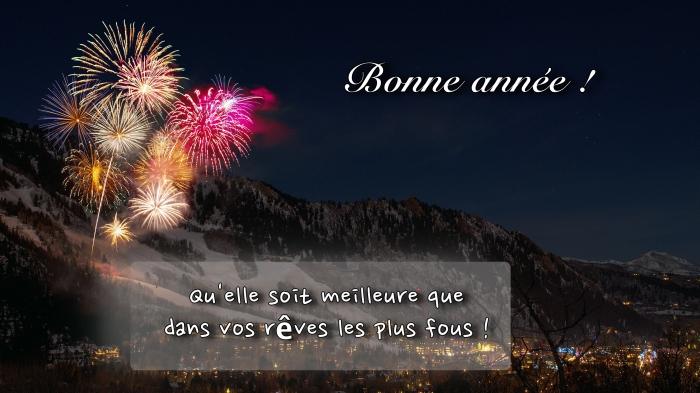 photographie feux d'artifice, photo célébration fêtes de fin d'année, carte numérique avec souhaits nouvel an
