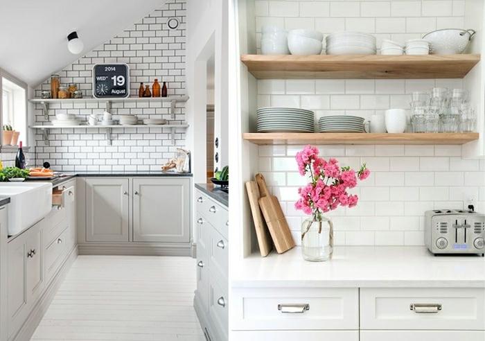 cuisine scandinave, étagères en bois, crédence carreaux métro, étagères blanches, placards gris