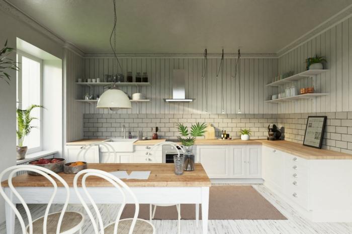 cuisine design scandinave, chaises rondes, table rectangulaire, sol en parquet blanchi, petite cuisine en l