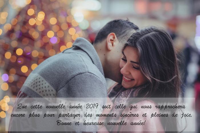 bonne et heureuse année 2019, photo Noel et nouvel an, carte de voeux pour nouvel an 2019 originale avec photo amour
