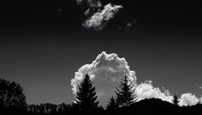 belle image noir et blanc d'un nuage blanc et cotonneux au-dessus de la forêt qui se détacher sur le fond du ciel gris foncé
