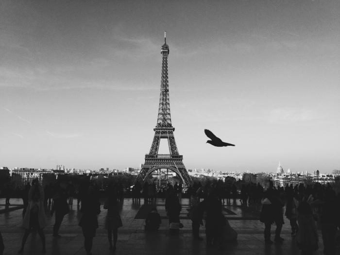 une photographie nostalgique de paris noir et blanc place du trocadéro avec une foule de touristes