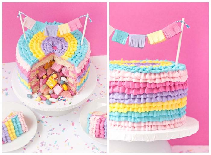 idée pour un gateau pinata d'une jolie décoration de plusieurs couleurs de glaçage, rempli de bonbons gélifiés