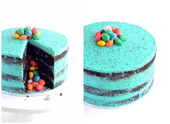 idée de pinata cake original spécial pâques au glaçage au beurre coloré bleu rempli d'oeufs en chocolat