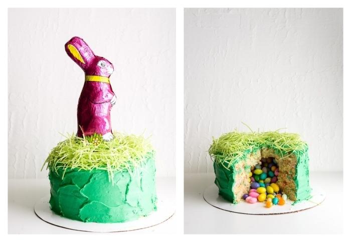 pinata cake original de pâques recouvert de crème pâtissière verte et décoré avec un lapin au chocolat qui renferme des œufs en chocolat