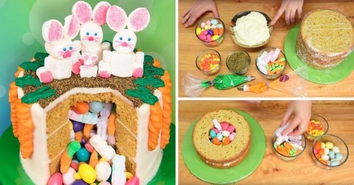 gateau surprise de pâques composé de plusieurs couches de génoises creusées, avec un joli décor de lapins en pâte à sucre et de carottes en glaçage orange
