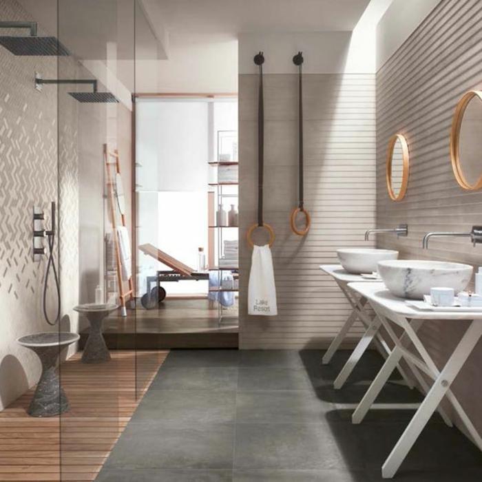 Verriere salle de bain, style industriel, cool idée de decoration interieur design industriel chouette idée de salle de bains spa