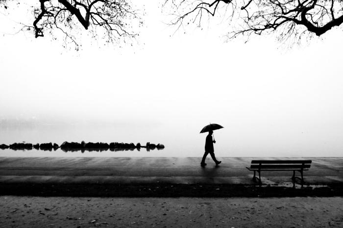 photographie noir et blanc promenade au bord de l'eau, photo monochrome montrant un homme tenant un parapluie