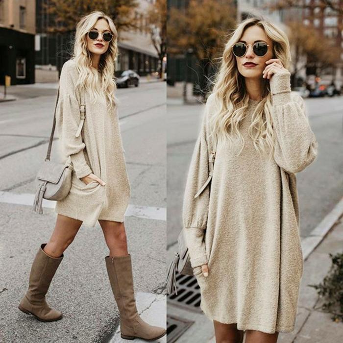 long pull femme, pull porté comme robe, bottes longues en velours, sac banane gris