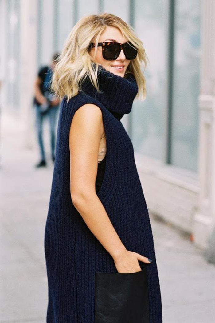 gros pull en laine femme, pull maille femme, lunettes de soleil, grandes poches en cuir