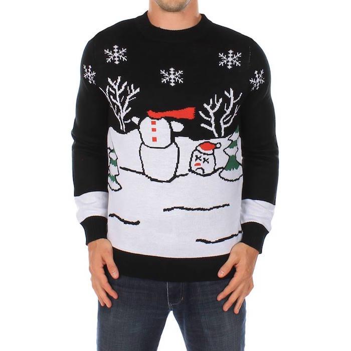 pull humoristique de noel moche noir et blanc avec dessin bonhomme de neige sans tete