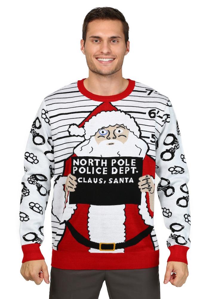 pull moche noel homme humour avec dessin pere noel arrete au poste de police du pole nord