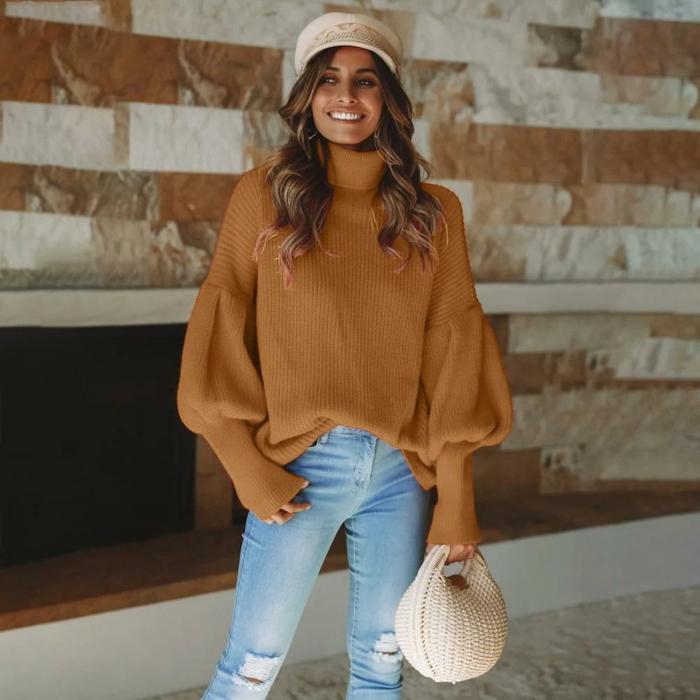 pull femme oversize, couleur terracotta, jeans bleus, sac crocheté, manches originales, bonnet crème crocheté