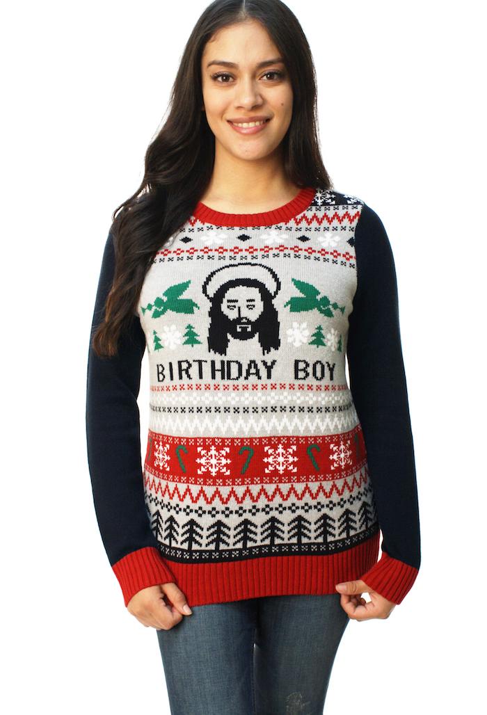 pull noel femme avec dessin de jesus birthday boy pour anniversaire pour reveillon humour