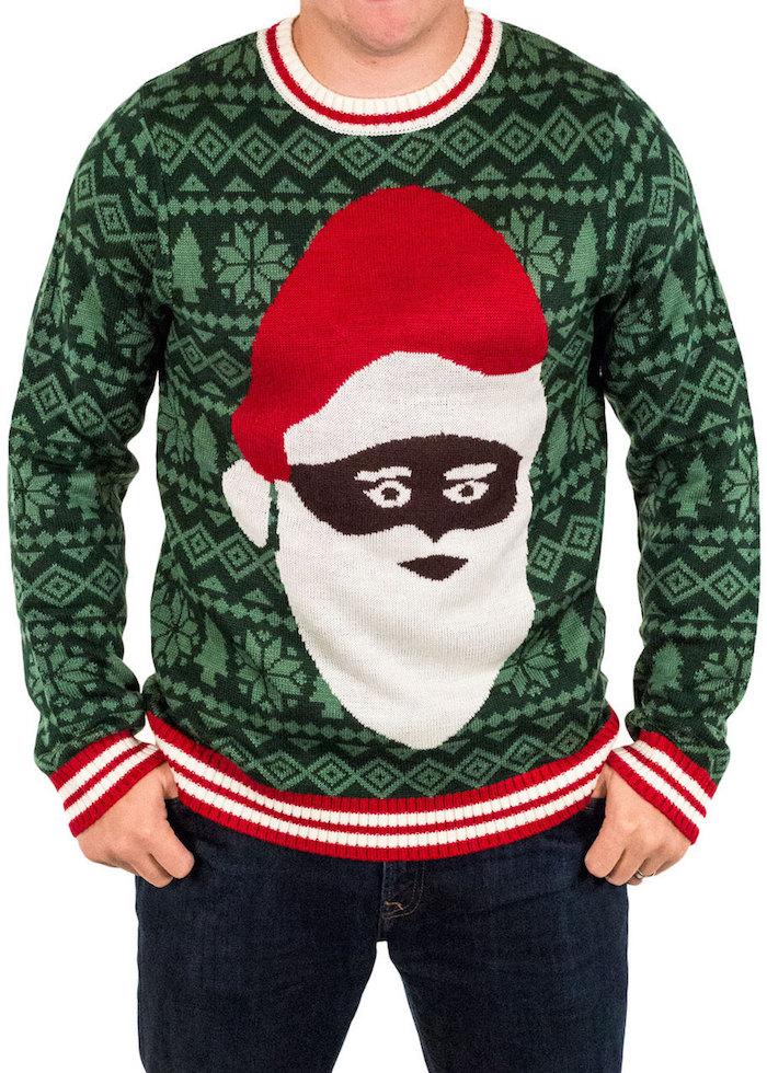 modele pull pour noel moche vert foncé avec tete de pere noel noir avec barbe blacnhe et bonnet rouge