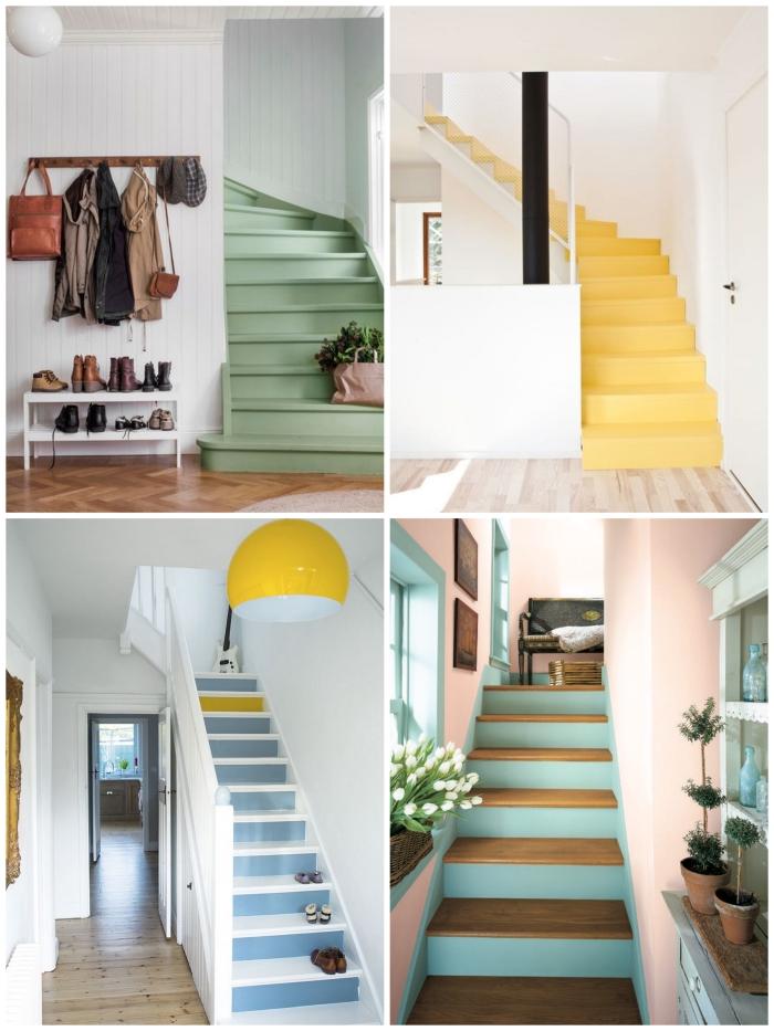 de quelle couleur peindre un escalier pour lui donner de la fraîcheur, exemple d'escaliers peints intégralement en couleur vitaminée et d'escaliers dont les contre-marche ont été peints seulement