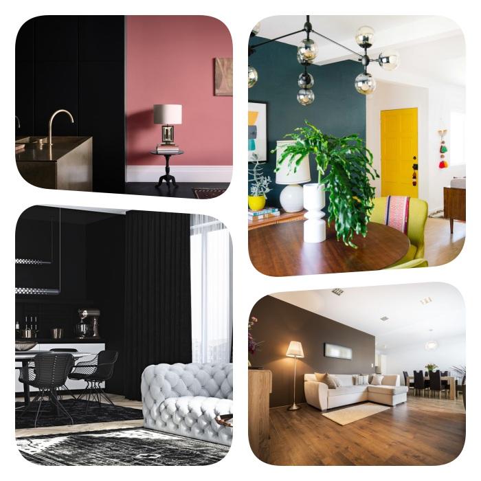 idee de separation de cuisine sans percage avec des couleurs contrastées, separer une cuisine salle à manger et salon avec des couleurs