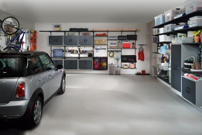 exemple amenagement garage fonctionnel avec emplacement de voiture et meubles de rangement mural fonctionnel