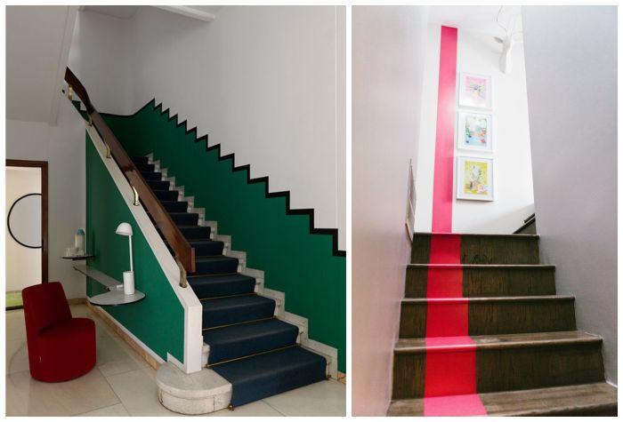 cages d'escalier aux motifs graphiques peints sur les murs et les marches de l'escalier, renover un escalier à l'aide de la peinture