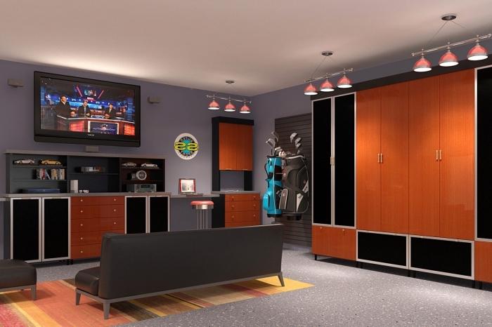 transformation du garage en salle de jeux, idée meuble garage foncé, armoires noir et bois, étagères murales foncées