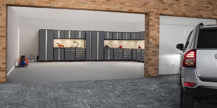 comment optimiser l'espace dans un garage, modèle rangement garage d'angle, emplacement voiture et armoires pour outils