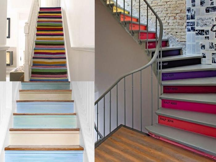 idée de renovation escalier bois facile et originale, contremarches peintes en couleurs différente de panton