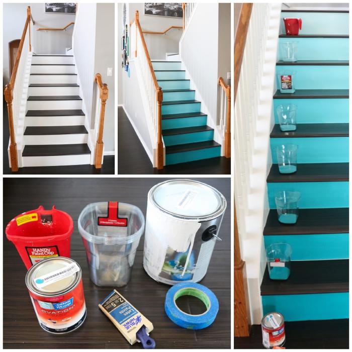 comment peindre un escalier en bois en dégradé de couleur, peinture d'effet ombré sur les contremarches en contraste avec le reste de l'escalier peint en blanc