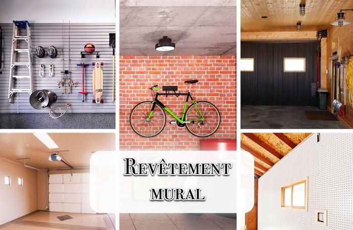 modèle amenagement garage de style loft industriel avec mur en briques, exemple de revêtement mural avec panneau