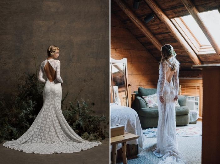 mode nuptiale 2019, modèle de robe mariée dentelle à dos nu en losange avec manches longues et traîne à motifs dentelle
