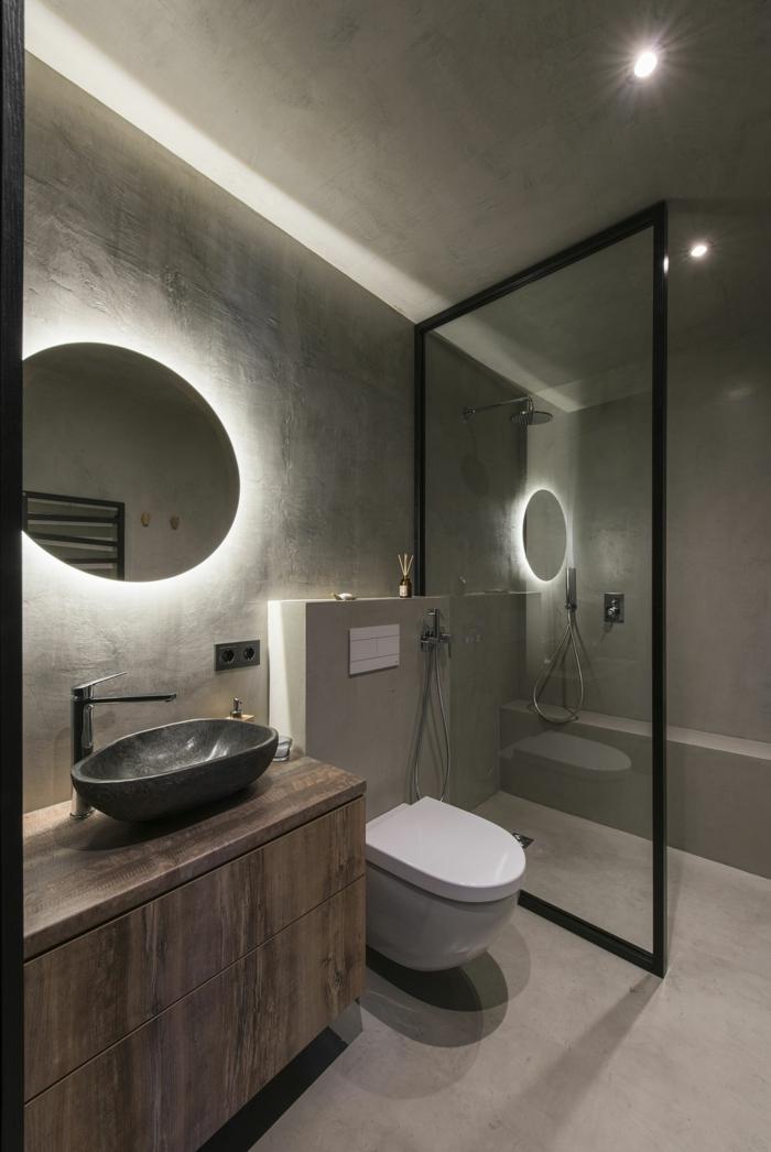 Le meuble salle de bain sur pied, décoration salle de bain style scandinave, cool idée pour personnaliser la salle ronde miroir avec led lumière