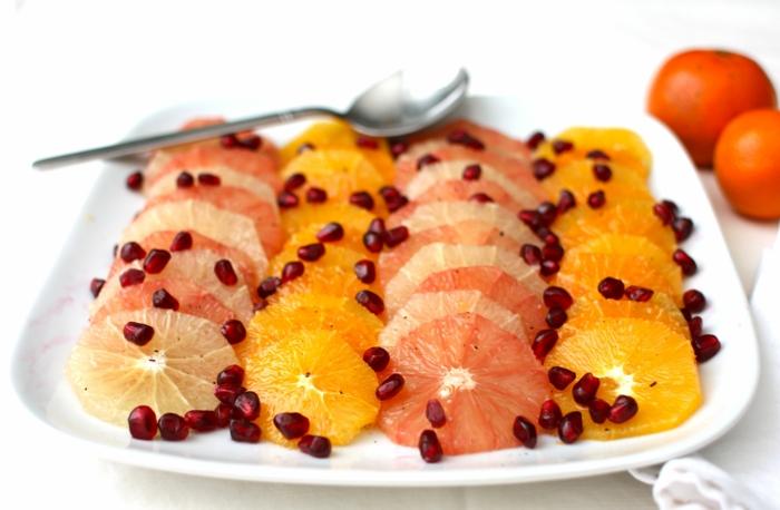 salade d'agrumes garnie de graines de grenade, quatre rangées de fruits dans une même assiette blanche