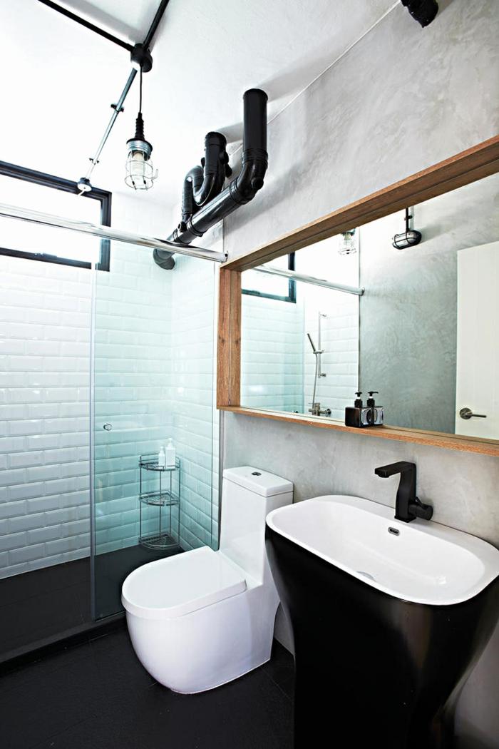 Chouette decoration industriel meuble salle de bain industriel déco salle de bain original lavabo salle de bain blanc et noir, miroir bois cadre