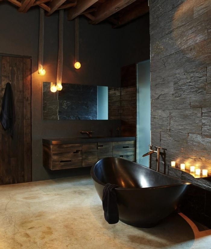 La plus belle salle de bain retro, decoration industriel vintage, style beau et moderne actuellement contemporaine design bougies