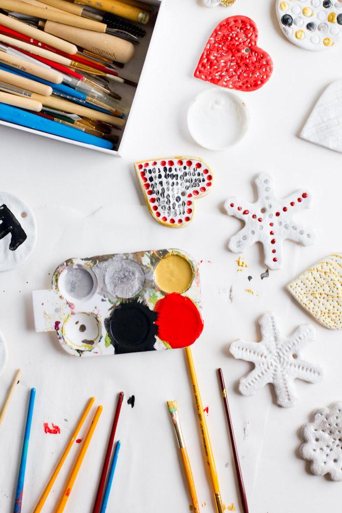 tutoriel pate a sel facile et peinture pour activité décoration de noel pour enfants