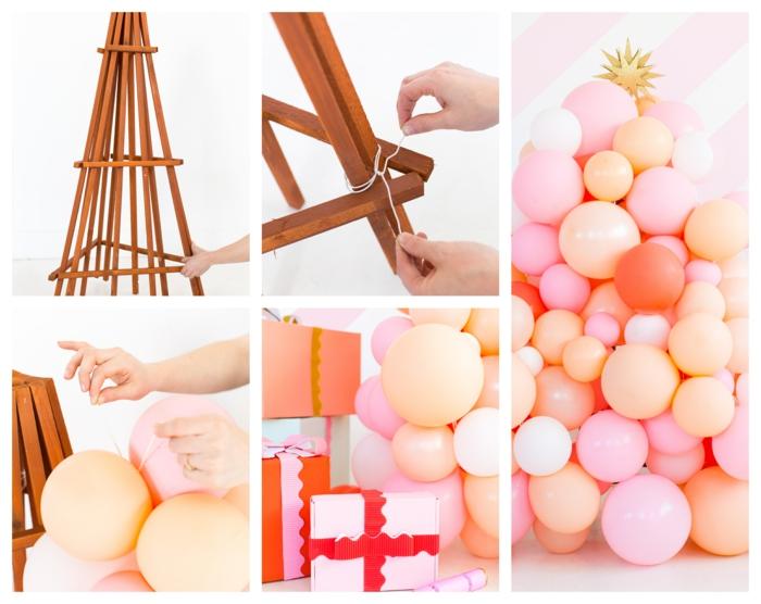 fabriquer un sapin de noel en treillis de jardin et en ballons décoratifs, ballons gonflés attachés à une construction pyramidale