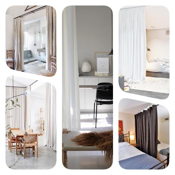 rideau de separation comme cloison amovible original pour séparer une cuisine, salle à manger, espace couchage ou salle de bain