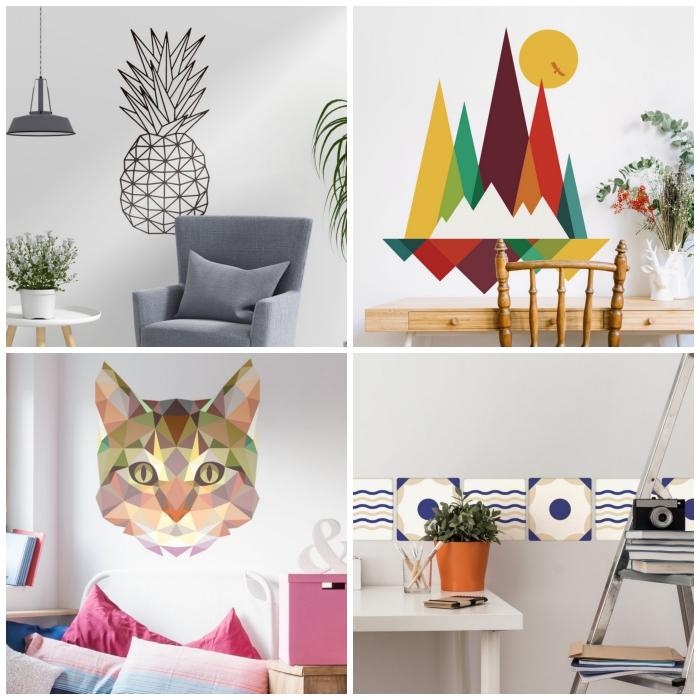modèles de stickers décoratifs muraux au design géométrique pour donner une touche moderne aux murs du salon, stickers ananas et montagne stylisés, jolie frise murale autocollante et sticker tête de chat origami
