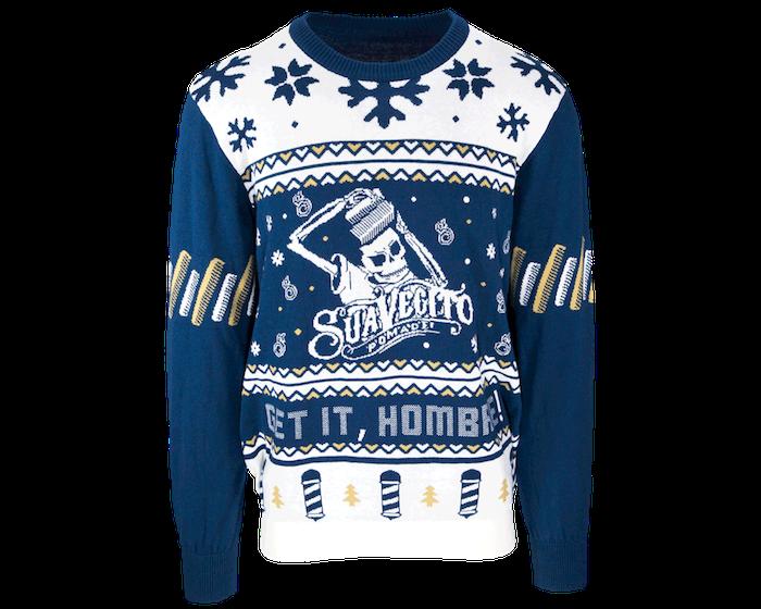 pull noel suavecito bleu et blanc avec dessin squelette pour tenue de noël moche