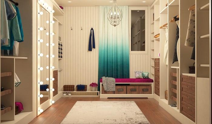 Idée déco chambre parentale dressing angle inspiration décoration banc pour s assoir rideaux colorés
