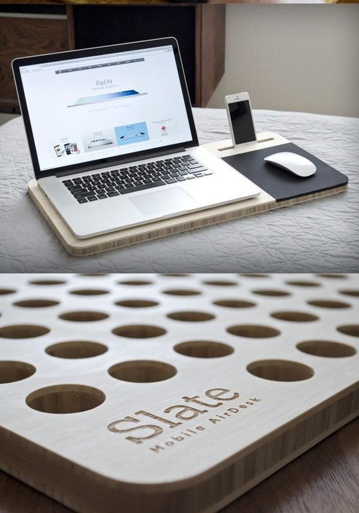 support pour ordinateur en bois avec tapis de souris intégrés et station de charge, idée cadeau anniversaire homme