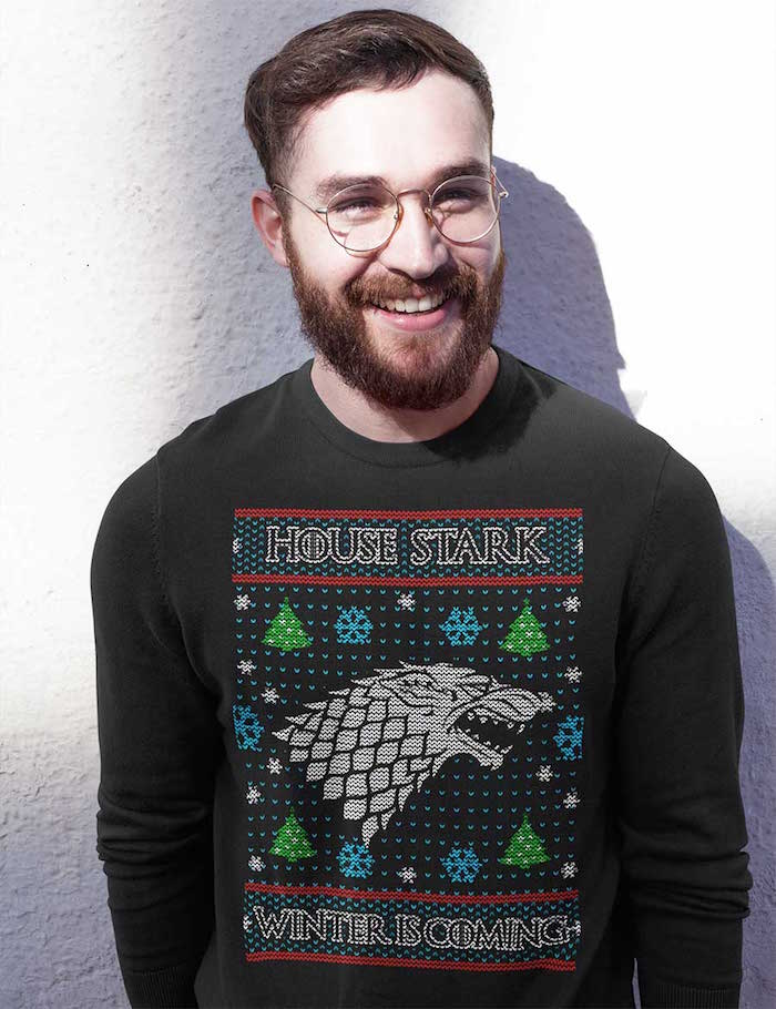 sweat homme pour noel noir avec dessin tete de loup stark game of throne winter is coming