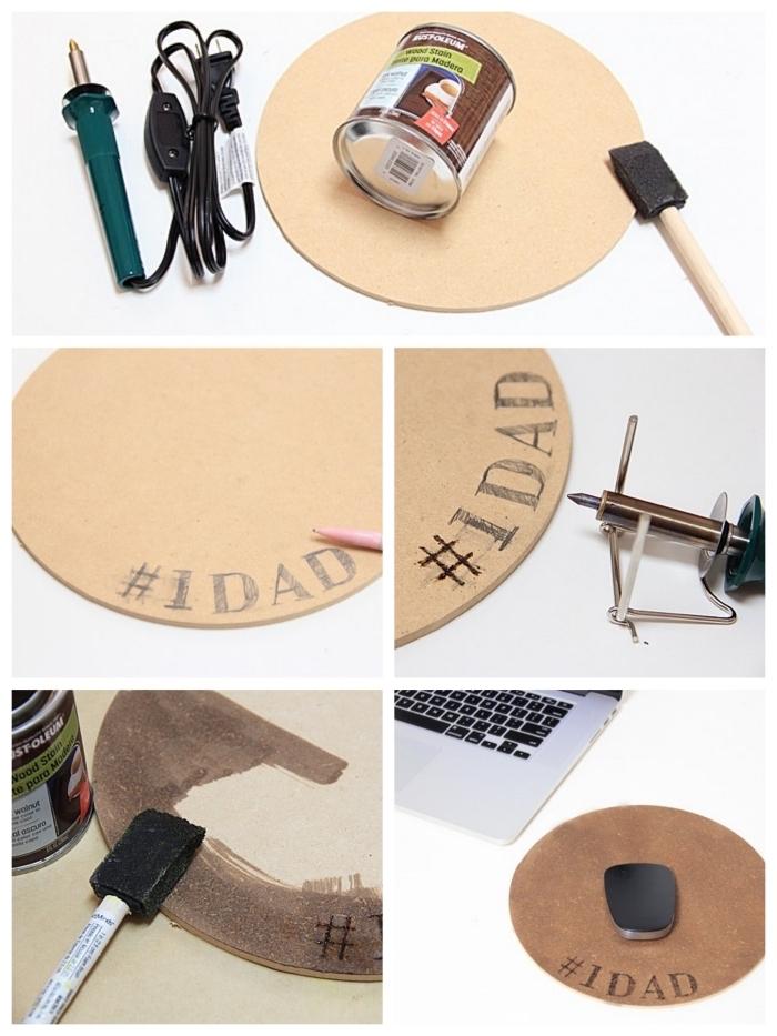 tapis de souris rond gravé à l'aide d'un pyrograveur avec message personnalisé, idée cadeau homme personnalisé