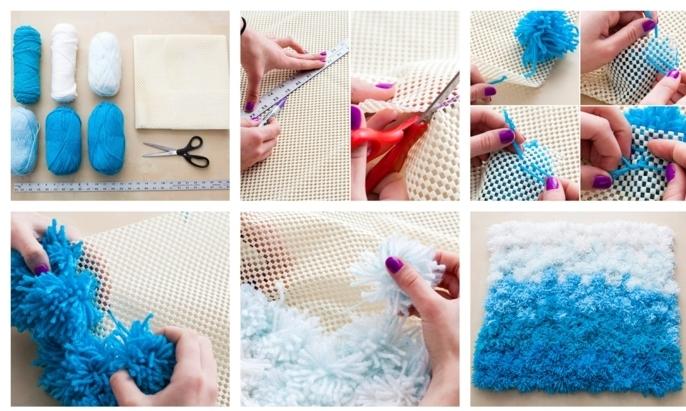 tuto pompon, pompons bleus et blancs, toile canevas, ciseaux, pelotons de fil en laine, tapis ombré