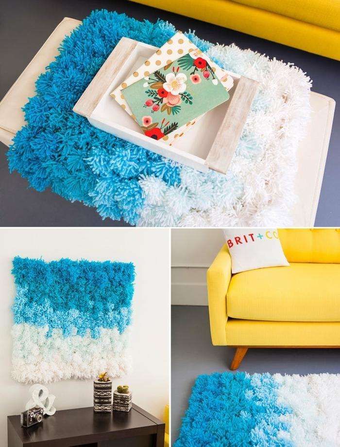 décorer son intérieur avec une déco diy, tapis diy en deux couleurs, cartes, sofa jaune, coussin déco